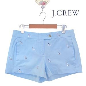 """J.Crew Light Blue Swan Embroidered 3"""" Chino Shorts"""